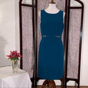 Tahari ASL solid blue sleeveless dress.